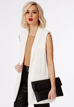 sélection premium e2444 4e758 Tolipa Sleeveless Longline Blazer In White | Style ...