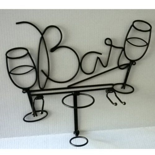 Wall Mounted Wrought Iron Bottle Wine Glass Holder Bar Kitchen Decor