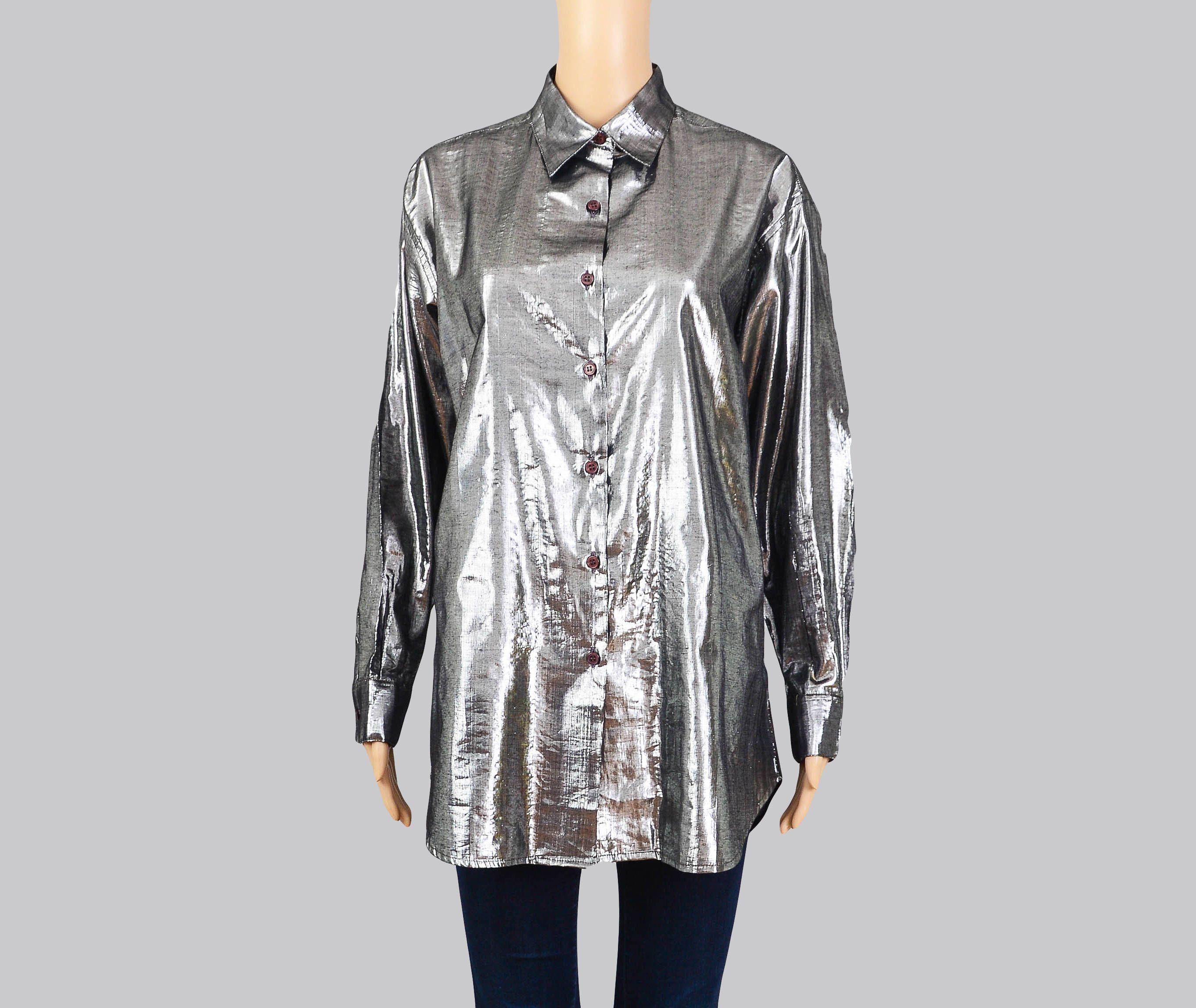 Vintage 90s ESPRIT Shirt   Metallic Silver Shirt   Long Sleeve Collared Button Up Blouse   Lurex Top   Shiny Gray Gunmetal   Medium M by SHOPPOMPOMVINTAGE on Etsy