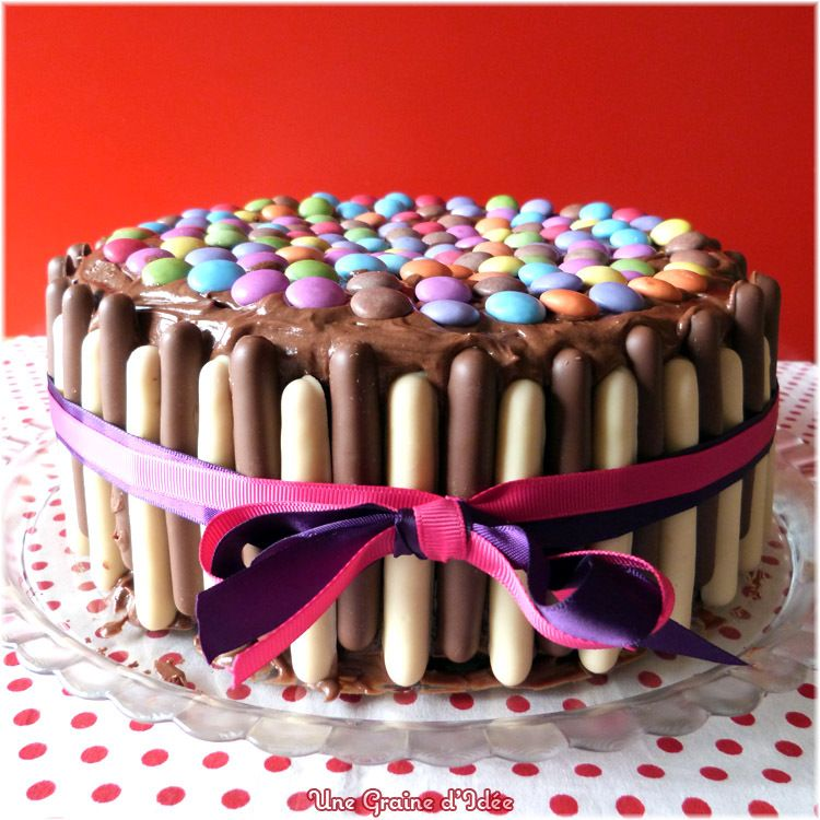 layer cake party chocolat framboise (smarties-finger) | recette