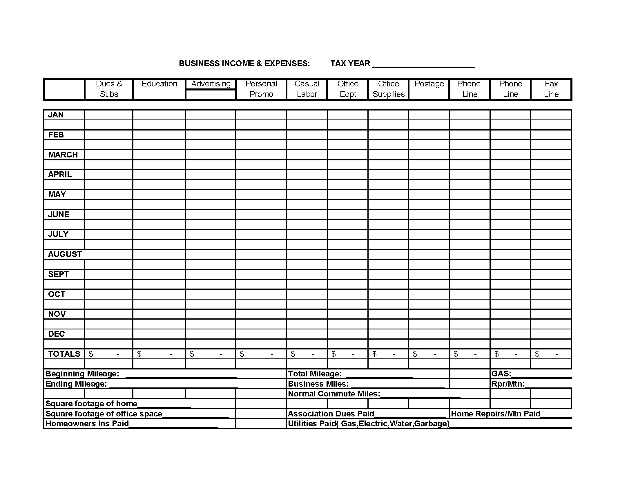 Business Income Expense Spreadsheet Template