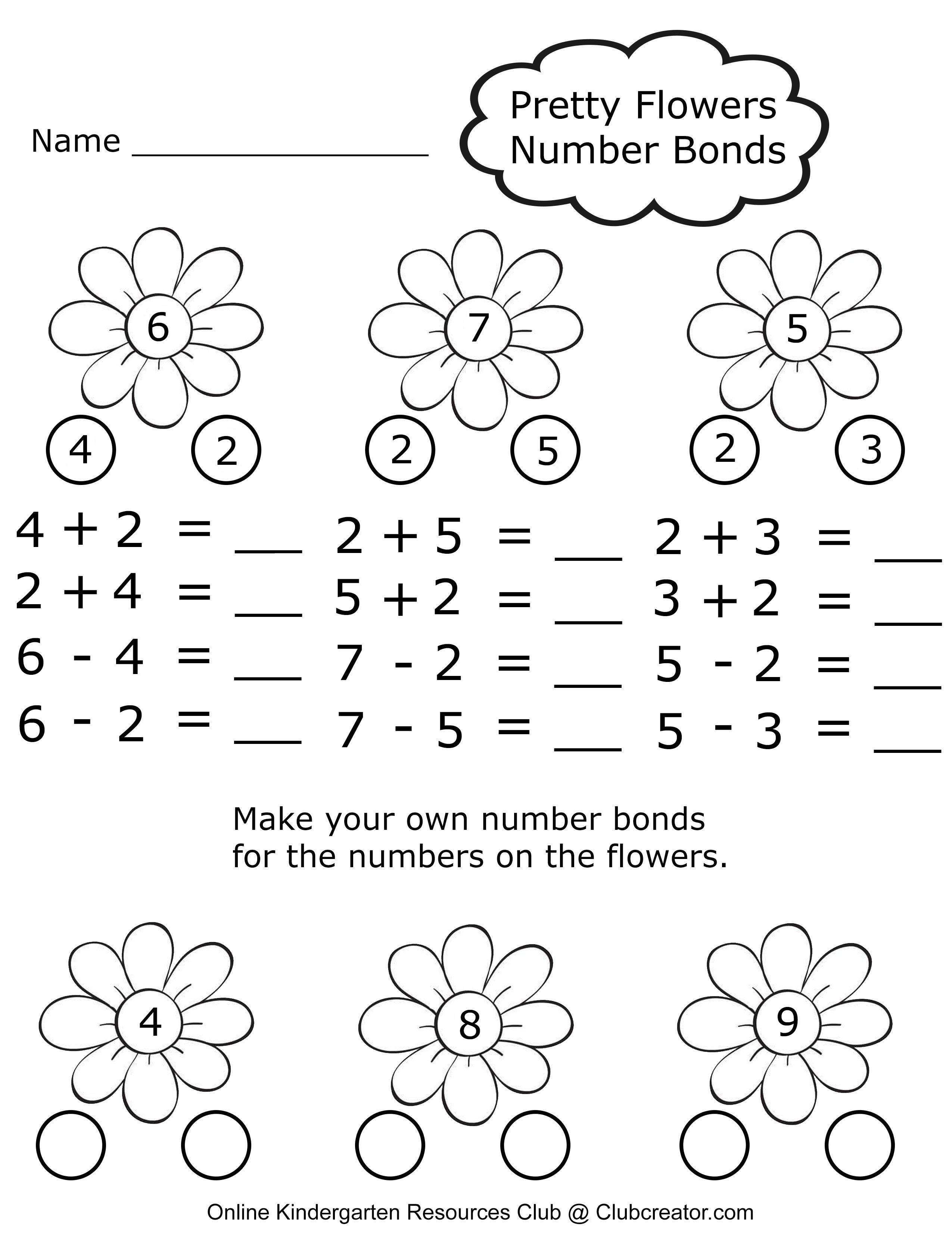 Kindergarten Number Bonds In