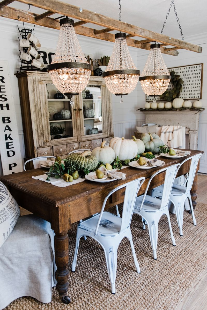 Happy Fall Rustic Pumpkin Pear Farmhouse Table Farmhouse