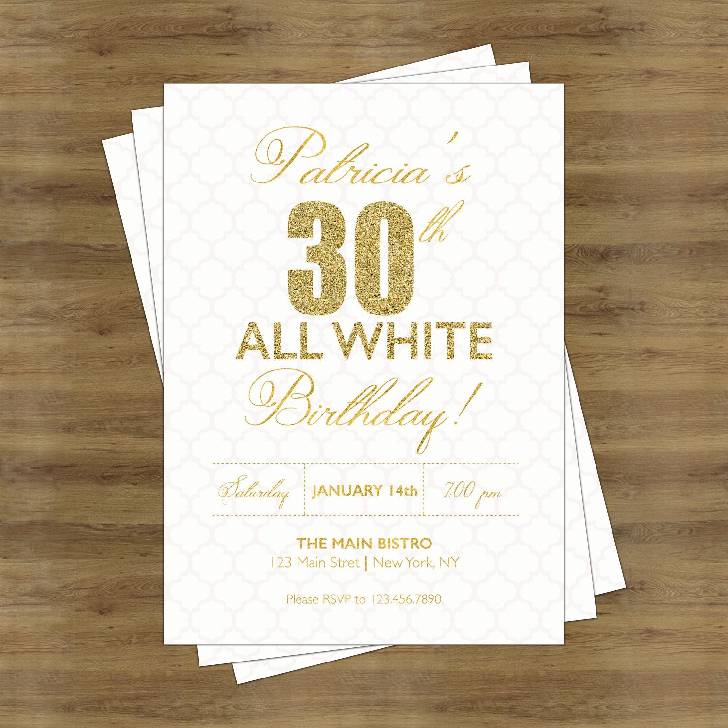 White Party Invitation; White and Gold Invitations; Adult Birthday ...