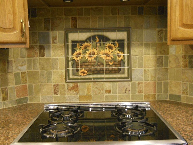 Mural Tiles For Kitchen Decor Decorative Tile Backsplash  Kitchen Tile Ideas  Sunflower Basket