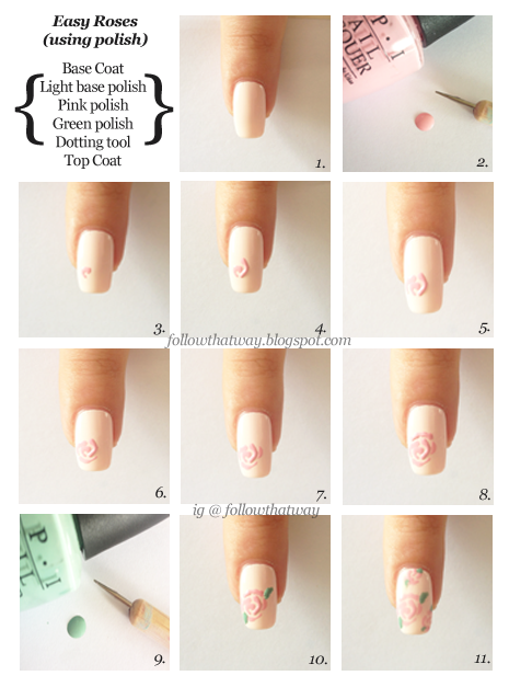 Rose Nail Art Tutorial With Polish Or Acrylic Paint Nails