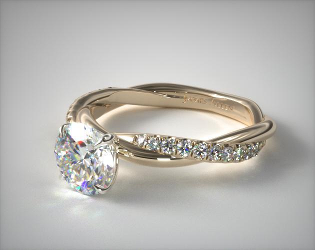 Pave Engagement Ring in Yellow Gold Setting ly