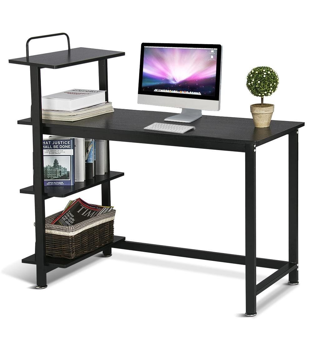 Amazon Com Yaheetech Wood Corner Computer Desk Pc Laptop Table Workstation With 4 Tiers Shelves Black Kitchen Dining Computer Desks For Home Pc Desk 4 Tier Shelf