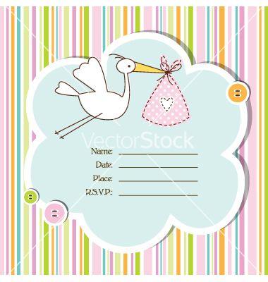 Baby shower card vector on VectorStock® Baby Shower invites - baby shower invitation backgrounds free