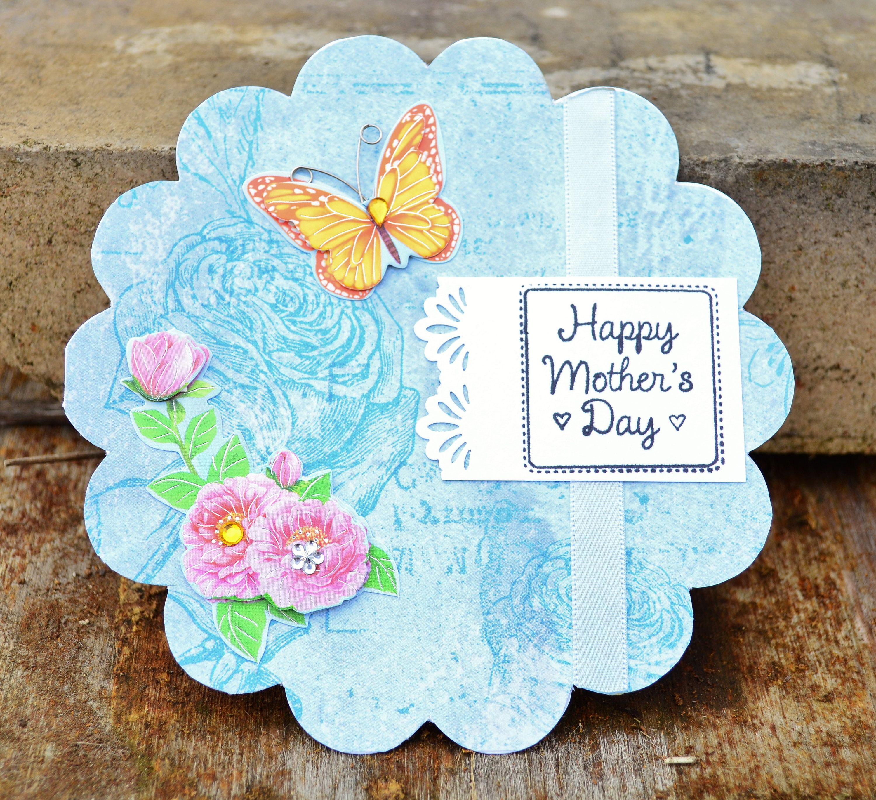 Mom day card motherus day card for mom light blue flower shaped