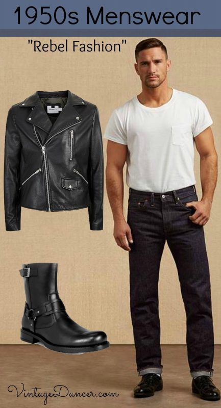 490ac556383c How to re-create men's 50 outfits. Guys 1950s clothing and costumes for the  business suit, ivy league student, greaser, casual Hawaiian shirt and  western ...