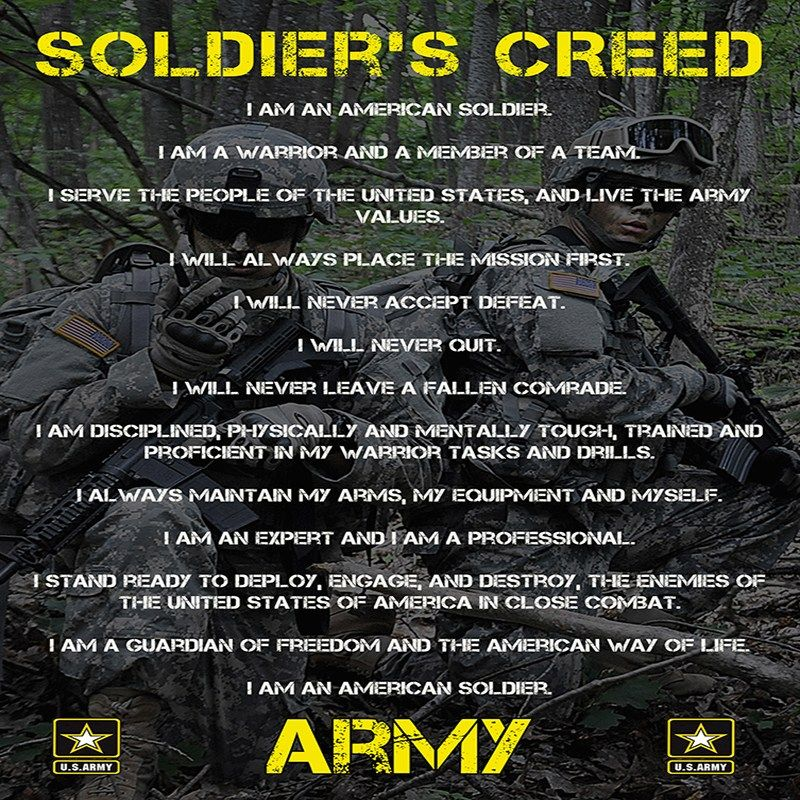 soldiers creed army poster