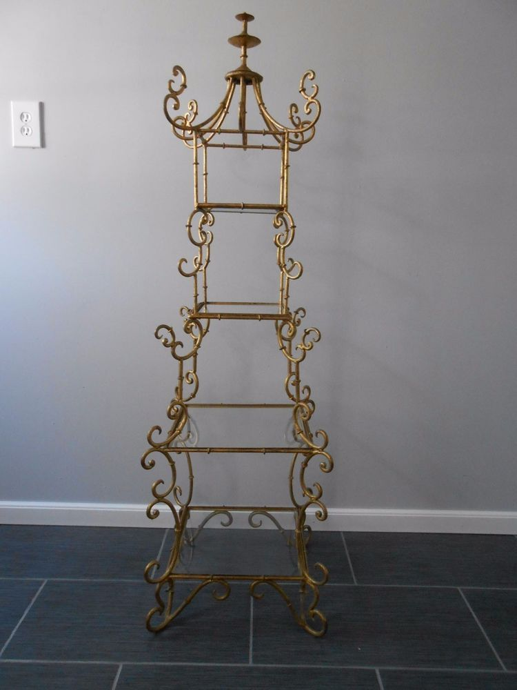 Vintage Hollywood Regency Faux Bamboo Pagoda Gilt Shelf Etagere Must See  RARE