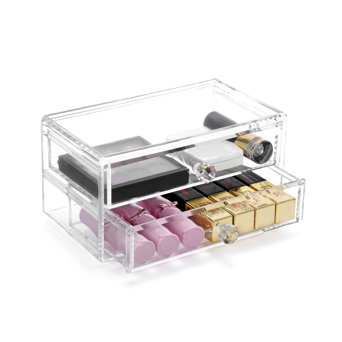 Home Storage Container 2 Drawers Acrylic Makeup Organizer Lipstick Nail Polish Clear Plastic Cosmetic Plastic Box Storage Plastic Storage Bins Plastic Dresser