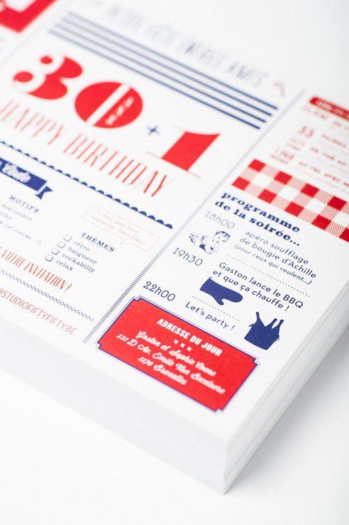 carton d'invitation, anniversaire, 30 ans, mise en page, graphic design, graphisme par studio ...