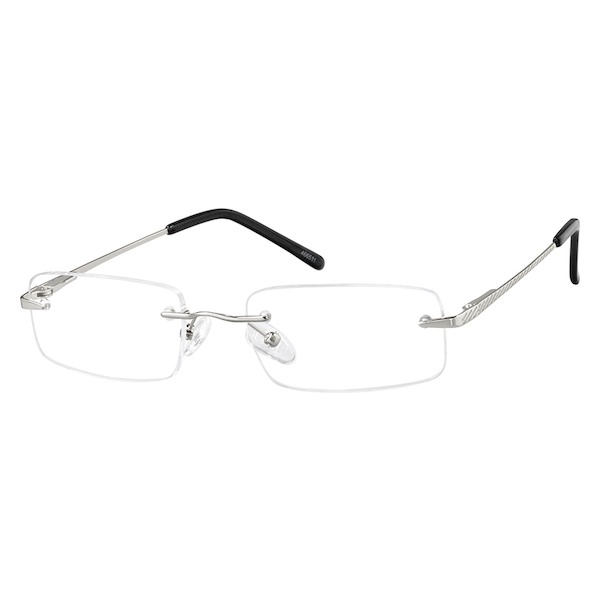 eacf4323de29 Zenni Mens Lightweight Rimless Prescription Eyeglasses Silver Stainless  Steel 466511