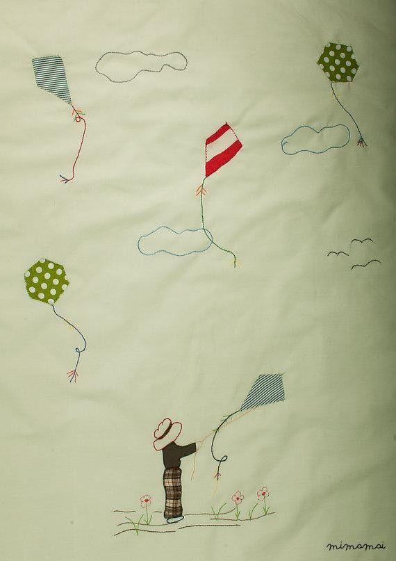 Coperta di bambino di Applique, mano regalo unico per il passeggino culla aquilone ricamato - Mimamai