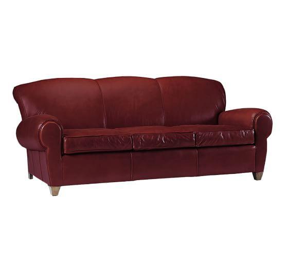Red Manhattan Leather Sofa Pottery Barn