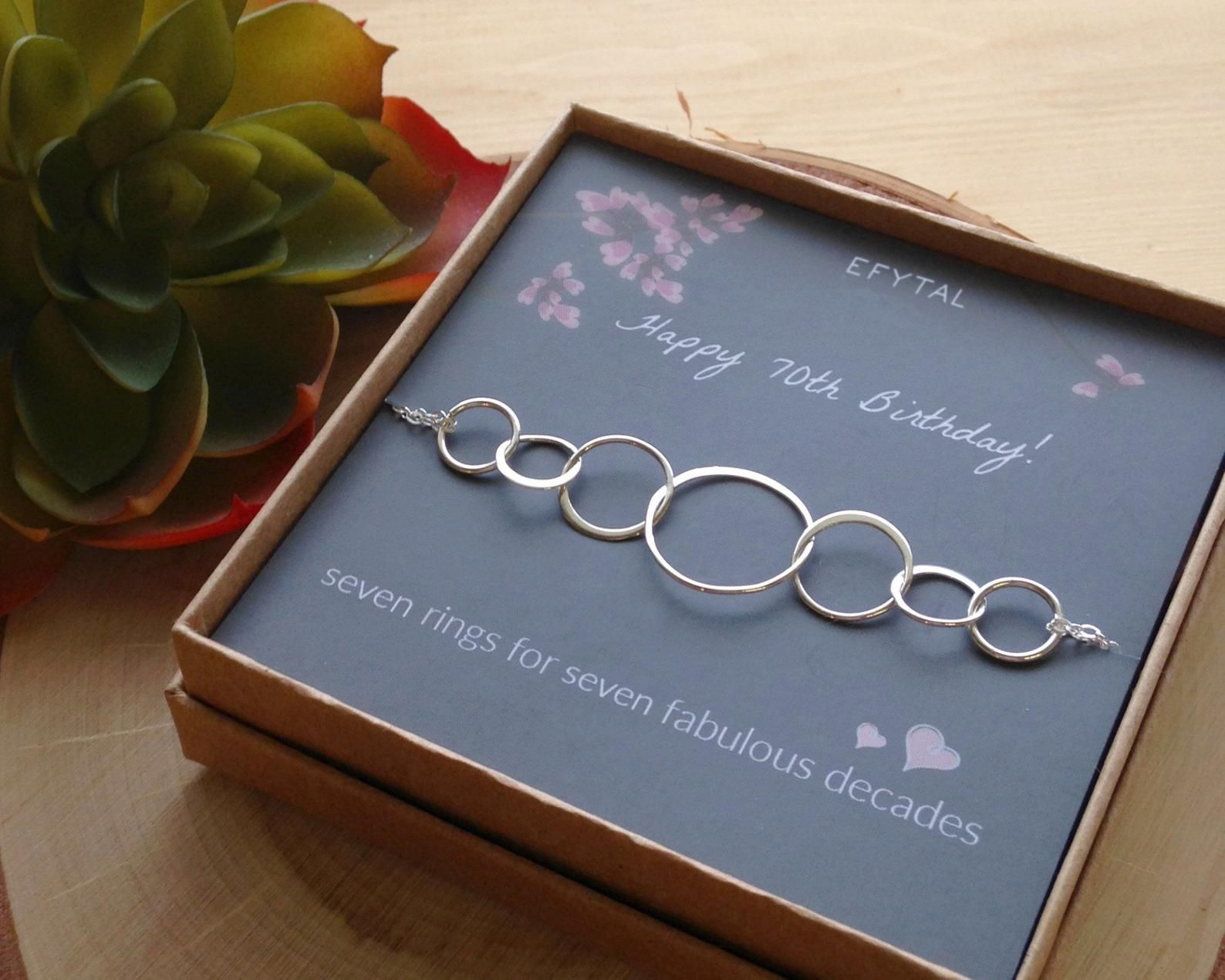 70th birthday gifts for women sterling silver seven circle