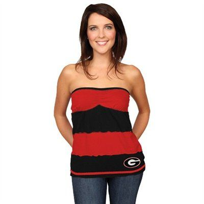cd16792631 Georgia Bulldogs Ladies Red-Black Striped Rebound Tube Top