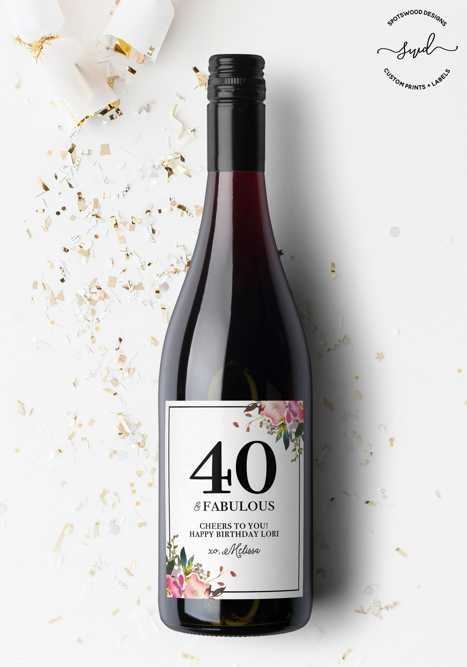 Happy Birthday Custom Wine Label Gift Fifty And Fabulous Milestone Cheers To Years Lover By SpotswoodDesigns On Etsy