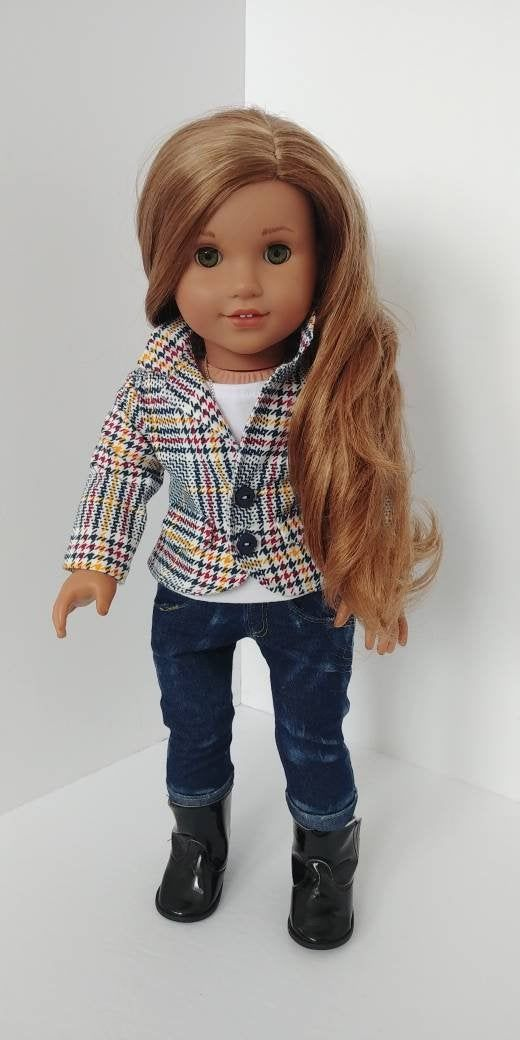 Fits like American girl doll clothes. 18 inch doll clothing.18 inch doll clothes. White plaid blazer #18inchdollsandclothes