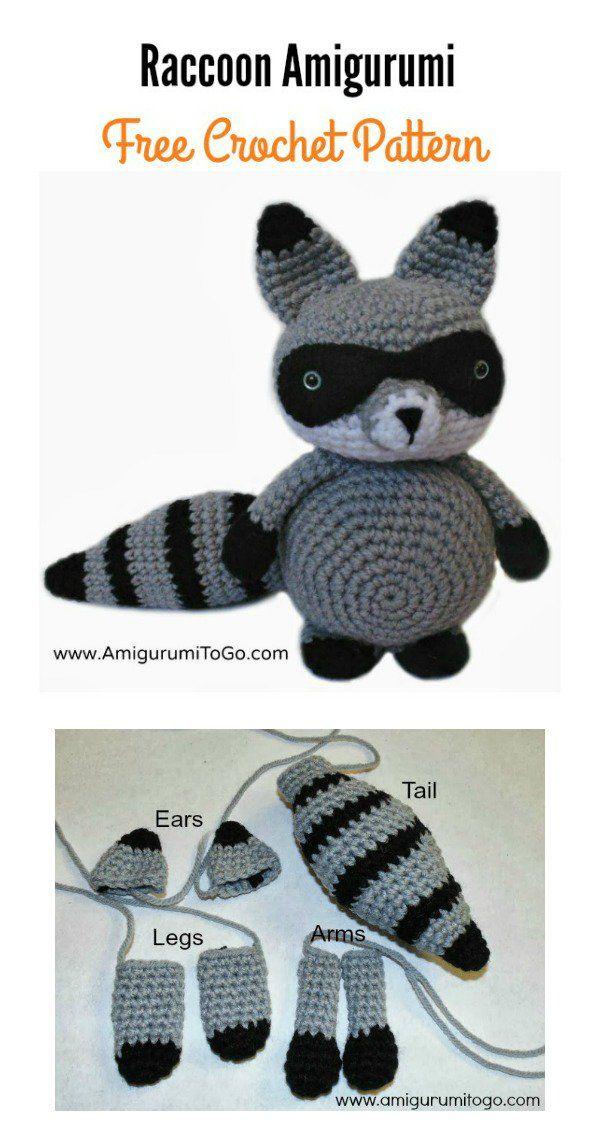 Raccoon Amigurumi Free Crochet Pattern | Pinterest | Alondra, Tejido ...