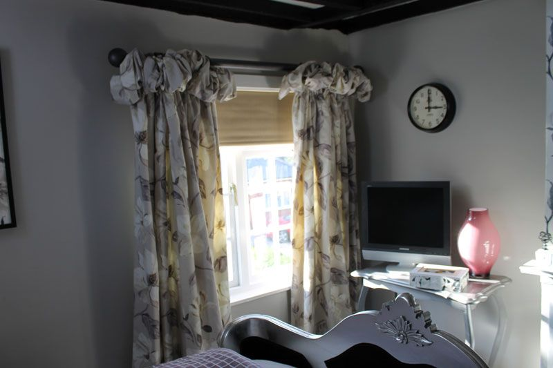 The bedroom curtains in our 60 Minute Makeover: they're lined and interlined puffball headed curtains in Prestigious Textiles Siracusa Dusk, and we made cushions to match. http://deancointeriors.co.uk/news-and-events/60-minute-makeover/