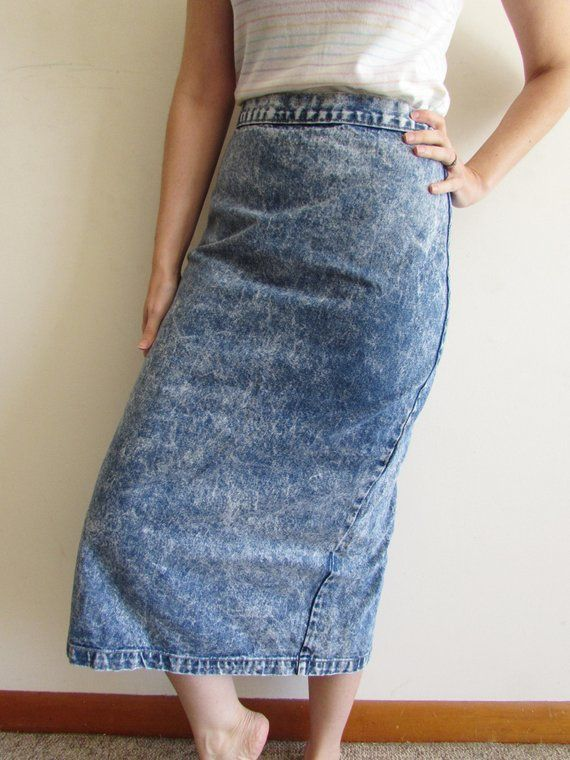 1e5ffb2bc1 Vintage Denim Skirt 1980s 1990s Hipster Rocker High Waist Acid Wash Maxi  Pencil Denim Skirt M