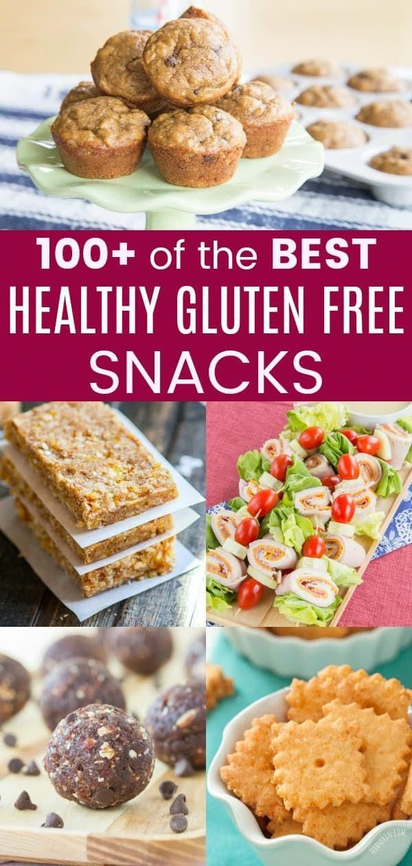 100+ of the Best Healthy Gluten Free Snack Recipes - granola bars, dips, energy balls, crackers, muffins, and much more. Perfect to pack in a lunchbox or for after school snacks.