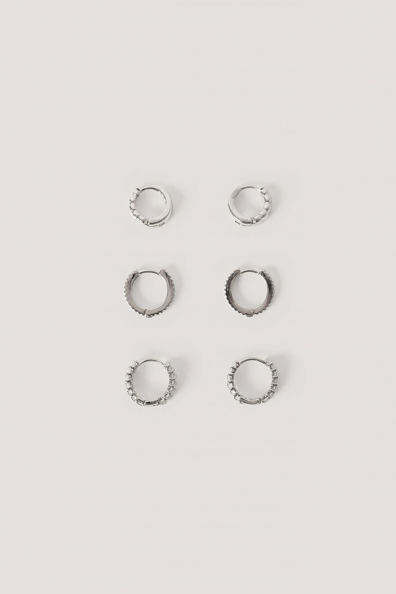 3-Pack Structured Tiny Hoops Silber
