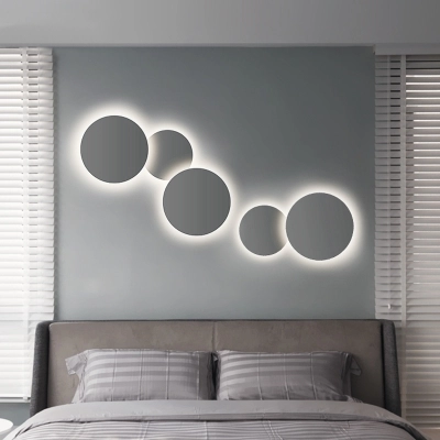 Post Modern Slim Round Led Wall Sconce 8 12 Wide Metal Eclipse Led Wall Lighting In Matte White Gray Decorative Stairways Bedroom Hallway Porch Sconce Wall Lamps Bedroom Wall Lights Bedroom Led Wall