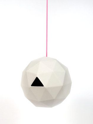 "Geo Birdhouse by Kelly Lamb: A ceramic geodesic dome with an access door for easy cleaning. 8"" diameter. On sale $48."