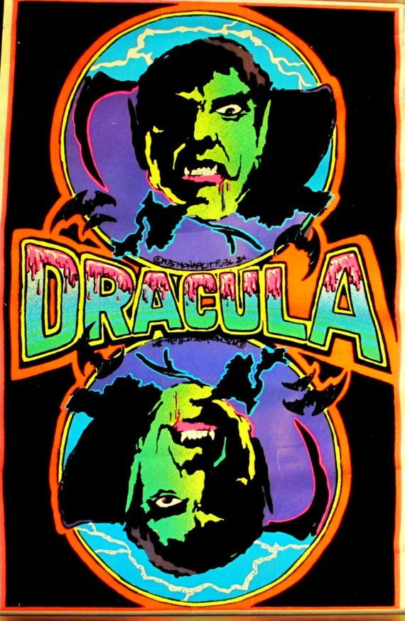 a85e2611530 FLOCKED Velvet Vintage 1975~DRACULA~True Blood BLACKLIGHT Poster ...