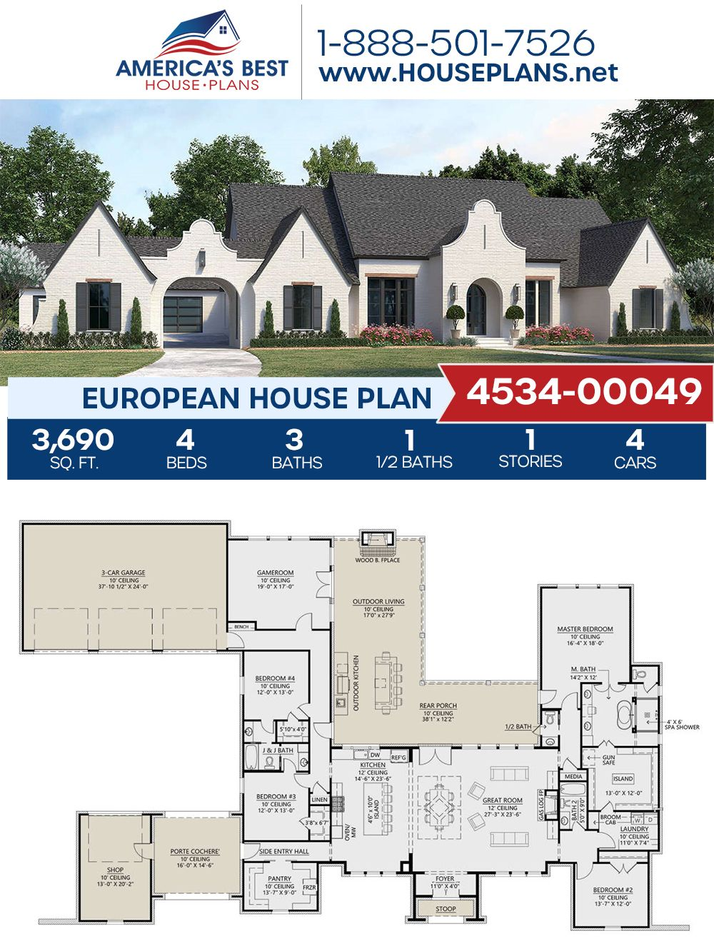 House Plan 4534 00049 European Plan 3 690 Square Feet 4 Bedrooms 3 5 Bathrooms French Country House Plans New House Plans Southern House Plans