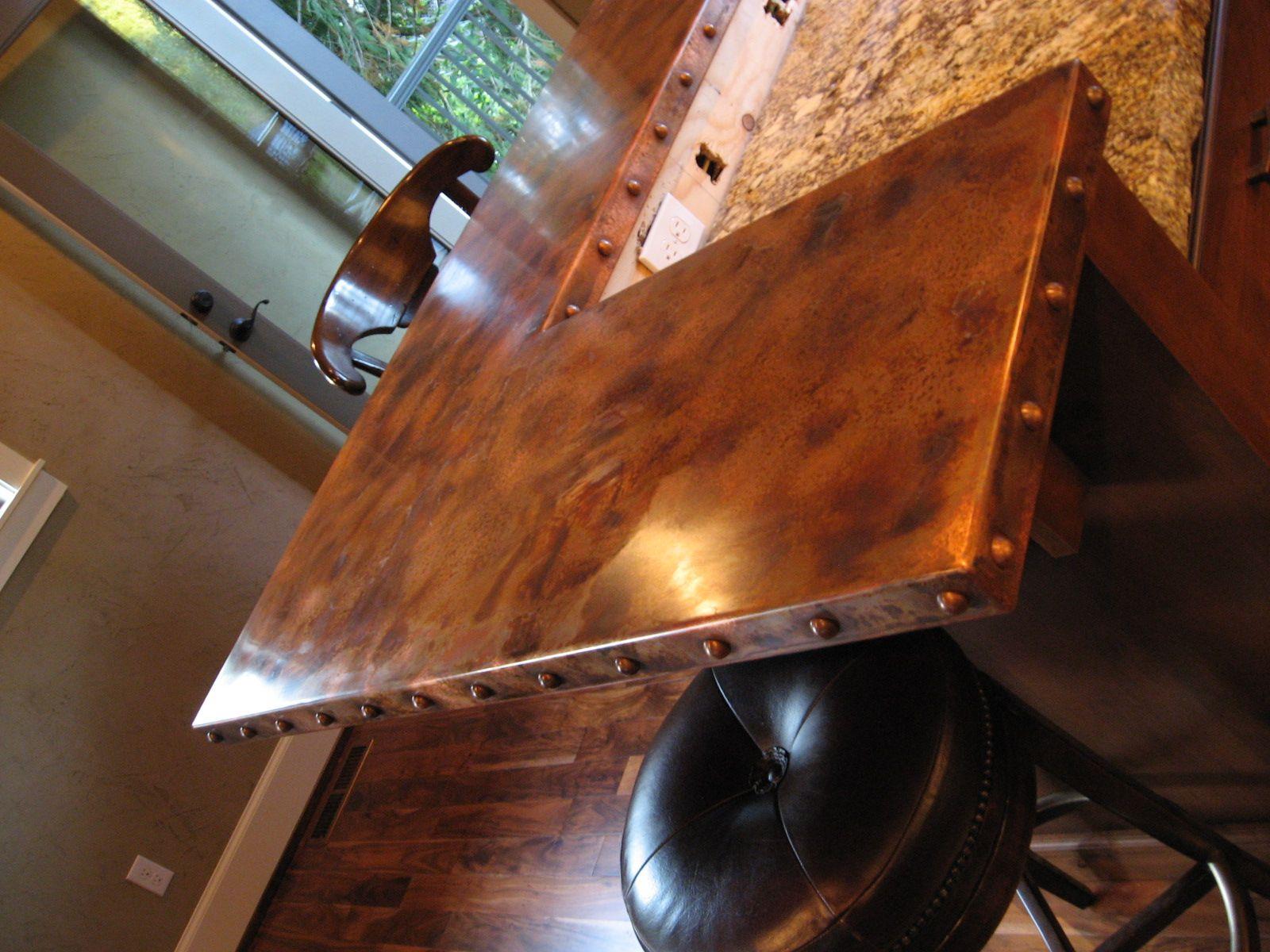 Copper Bar Tops (minus Rivets On Edge)(Bar Top Ideas)