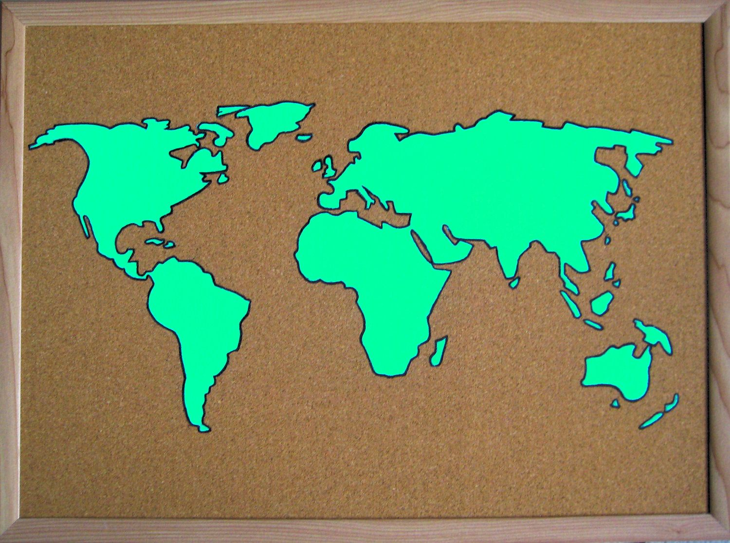 colorful hand painted corkboard world map 17 x 23 4500