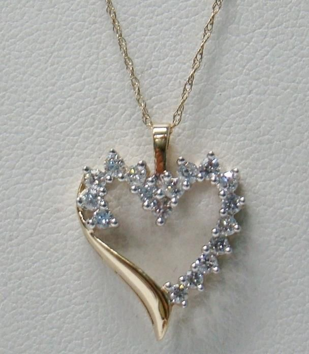 10k Yellow Gold Polished Heart Chain Slide