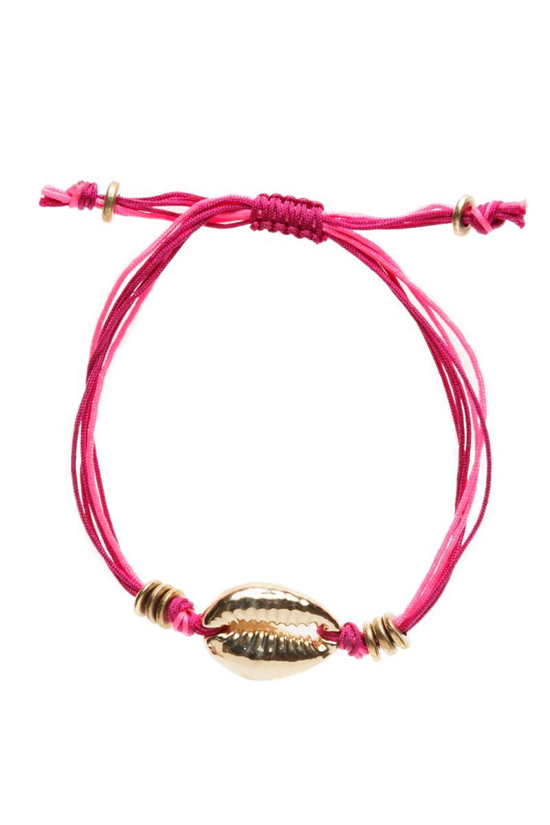 Gold Cowrie Beach Bracelet Berry Pink