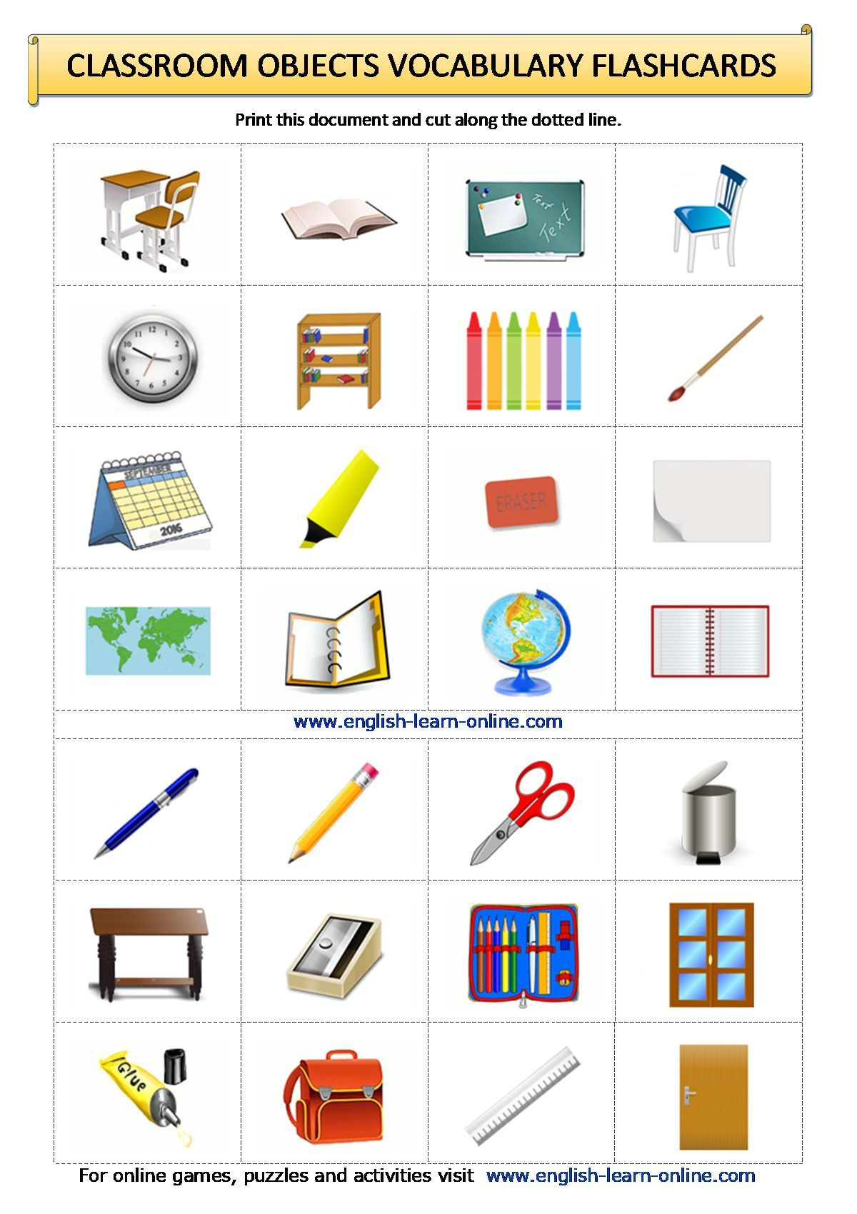 Classroom Objects Vocabulary Flashcards Worksheet In