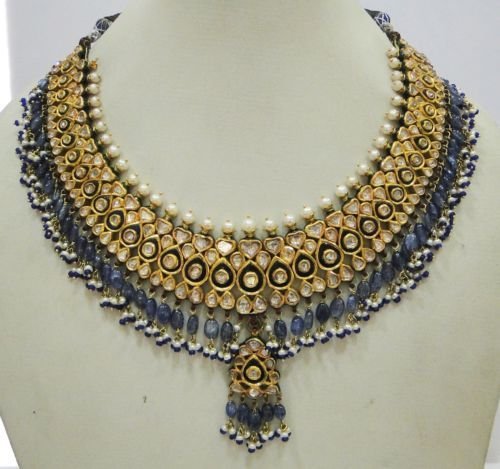 Vintage Antique 20K Gold Diamond Polki Kundan Enamel Necklace
