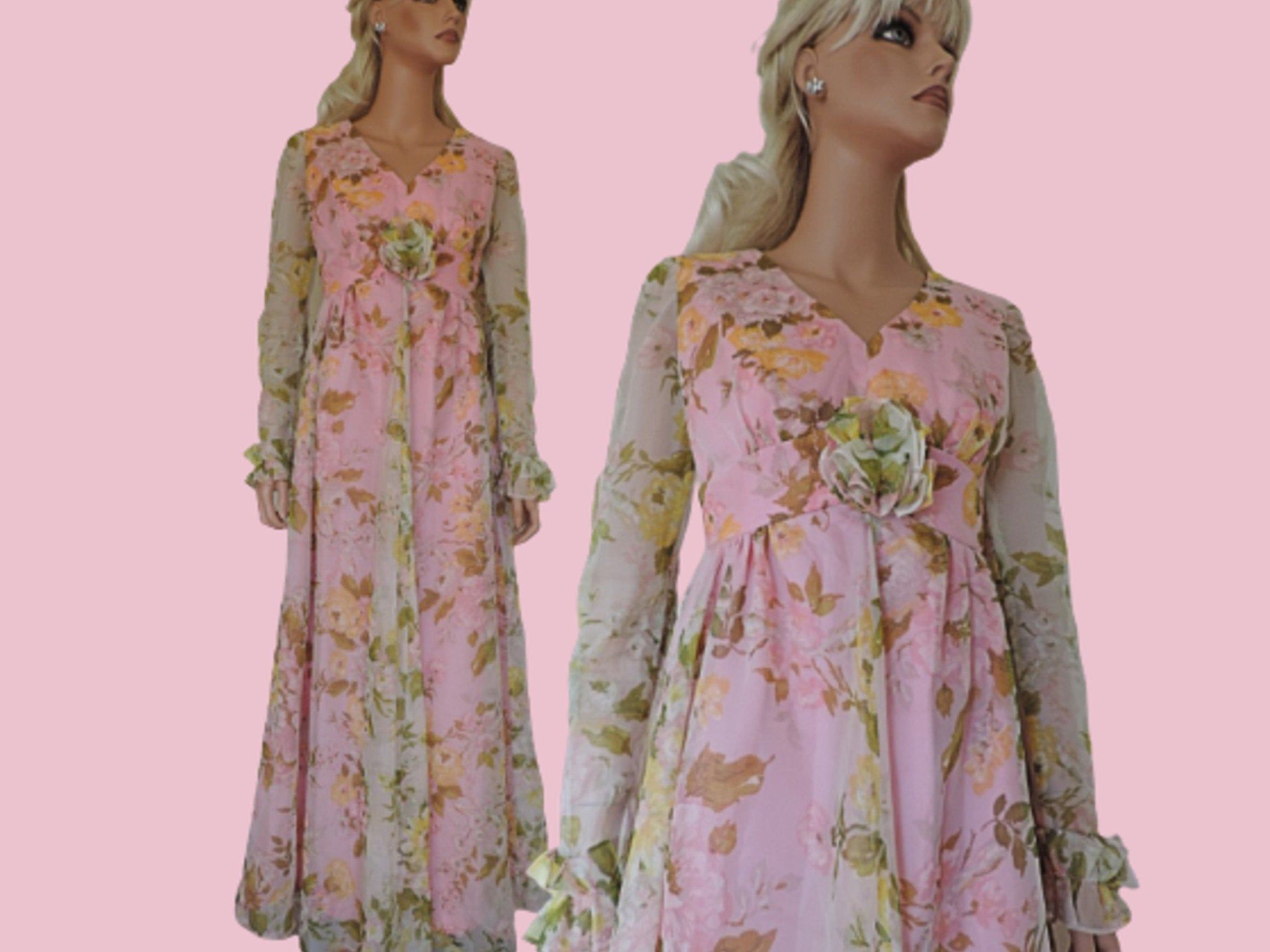 70s Maxi Dress In Pink Floral Chiffon Long Vintage Hippie Boho Gown With Sheer Sleeves By Melody Uk 10 Us 6 Vintage Maxi Dress Maxi Dress 70s Maxi Dress [ 1500 x 2000 Pixel ]