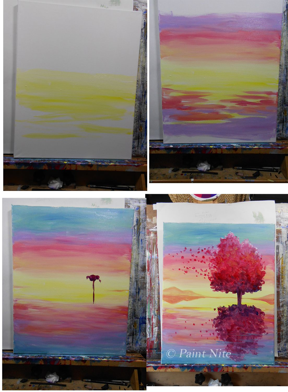 Reflection On The Wind Process Night Painting Canvas Painting