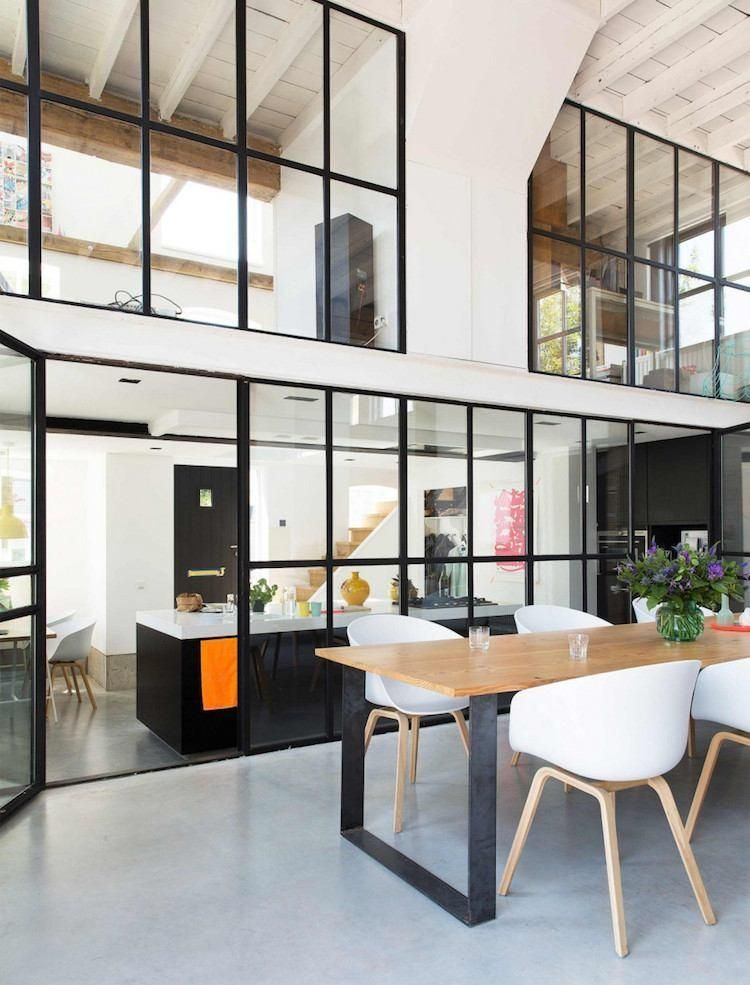 Cuisine avec verri re int rieure pour restructurer l Loft et terrasse