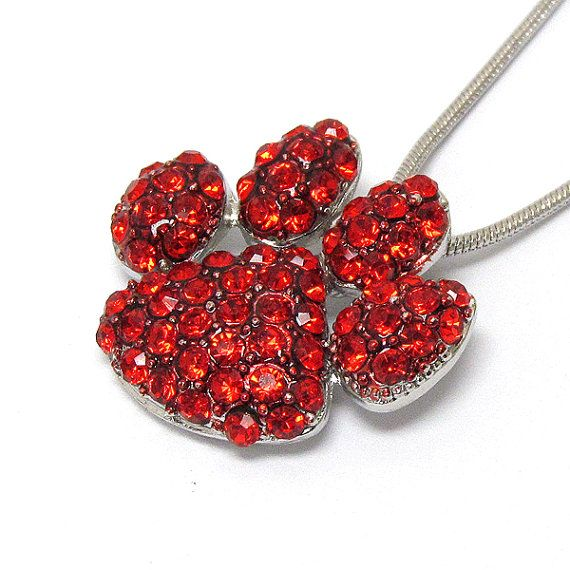 Red Paw print Nacklace by TripleTroubleBoutiqu on Etsy, $14.00