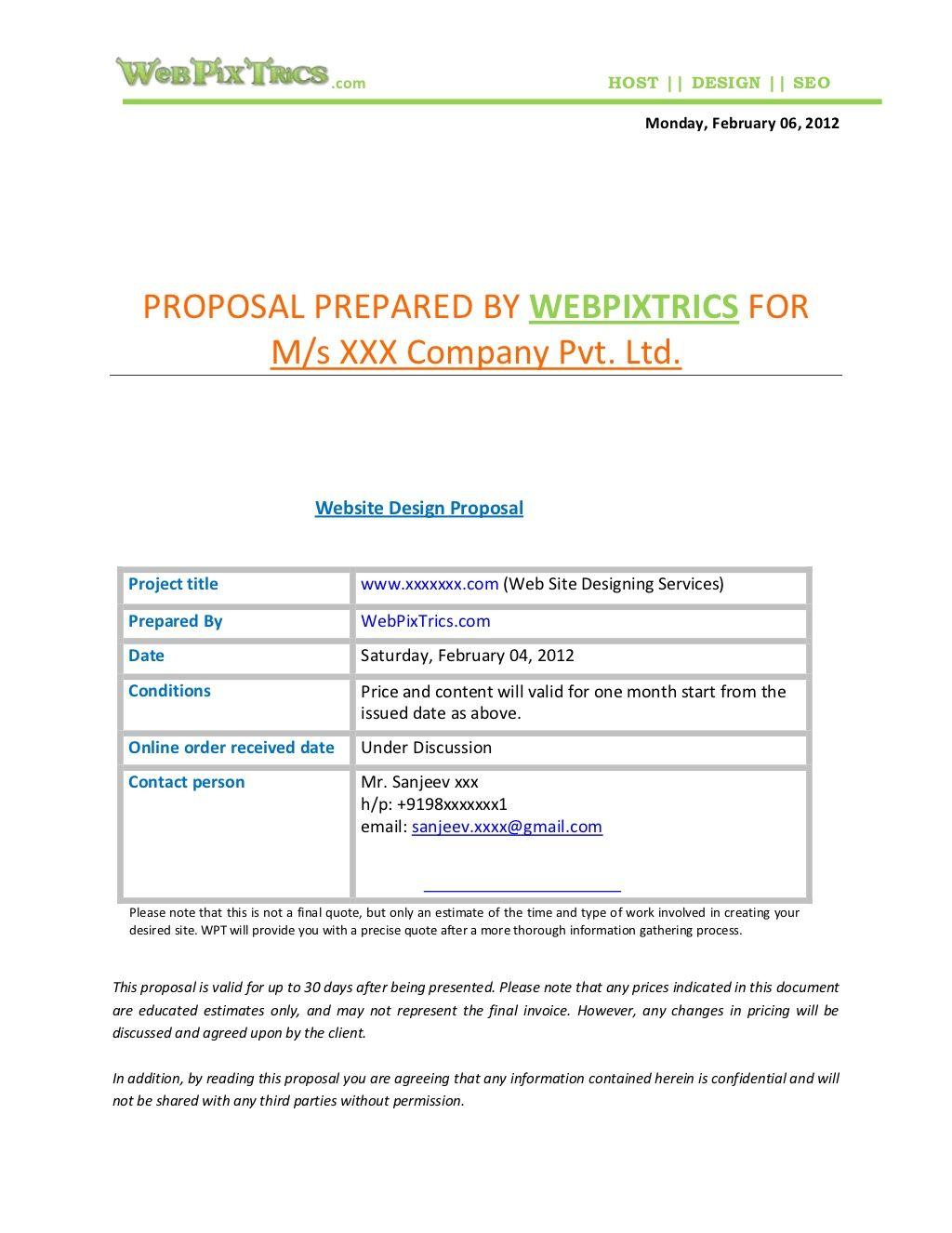Web Design Proposal Sample By Webpixtrics Com Via Slideshare Web Design Quotes Web Design Proposal Pamphlet Template