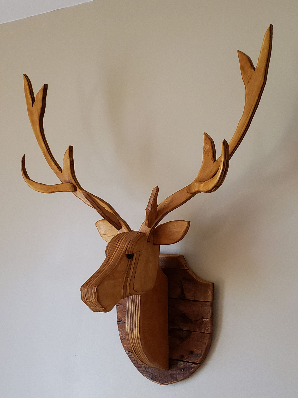 Recycled Wooden Deer Head Life Size With Antlers Etsy Wood Craft Patterns Deer Deer Head