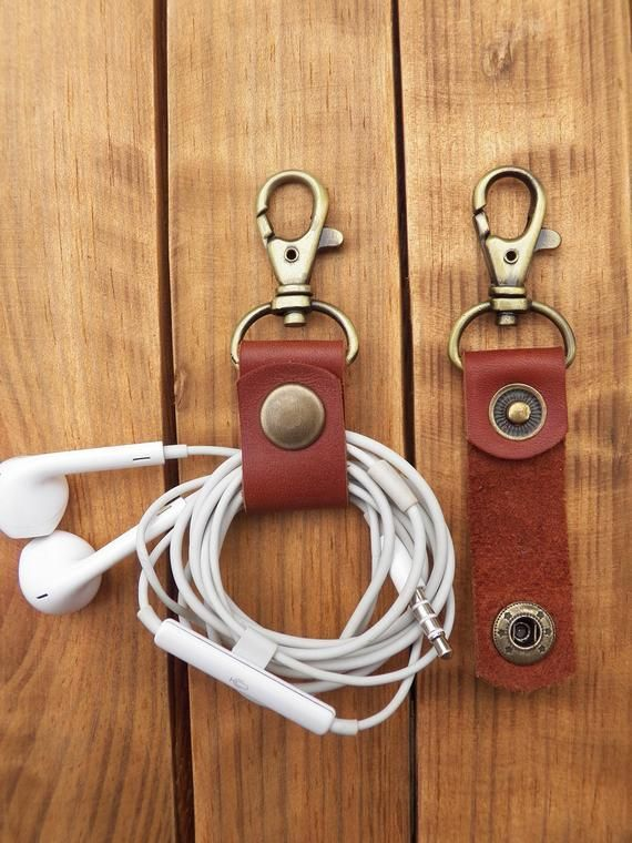 Photo of Cable Holder Cable Organizer Leather Headphone Cord Organizer Cord Holder L …