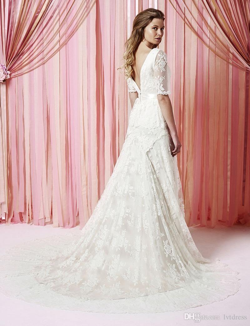 Compre medias mangas de encaje boho vestidos de novia una línea