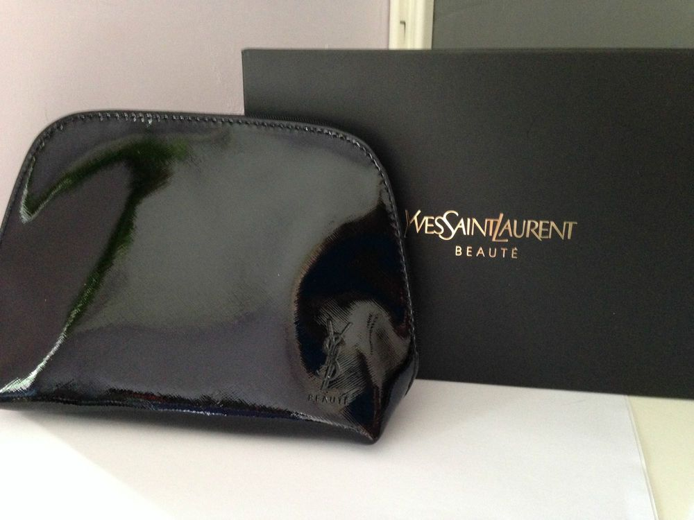98026ff7c817 YSL Beaute Black Glossy Make Up Clutch Bag Pouch Yves Saint Laurent - New  Boxed